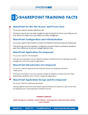 SharePoint Training Fact Sheet