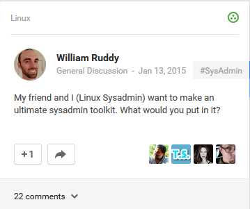 sysadmin toolkit post in Google+ Linux Community