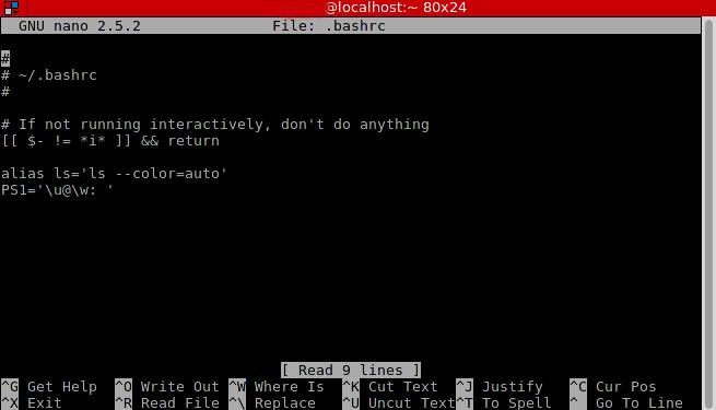 bashrc configuration file linux
